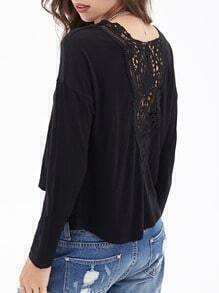 Black Round Neck Lace Back Crop T-Shirt