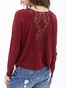 Wine Red Round Neck Lace Back Crop T-Shirt