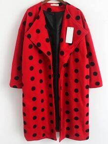 Red Lapel Polka Dot Woolen Coat