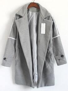 Grey Lapel Double Breasted Woolen Coat