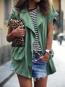 Green Lapel Short Sleeve Pockets Coat