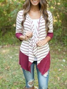 Red White Long Sleeve Striped Blouse