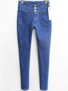 Blue High Waist Buttons Denim Pant
