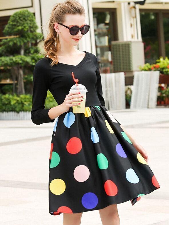 Black V Neck Crop Top With Polka Dot Skirt