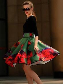 Black Round Neck Slim Top With Floral Skirt