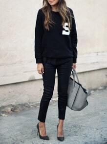 Black Round Neck S Print Sweatshirt