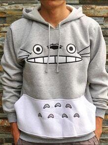 Grey Hooded Cartoon Pattern Loose Sweatshirt