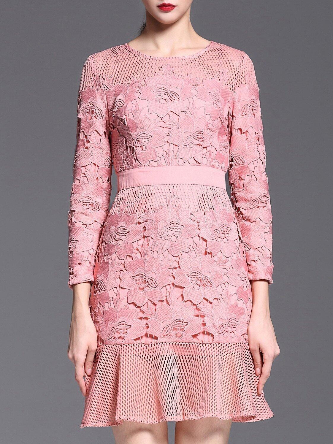 Pink Round Neck Long Sleeve Crochet Dress