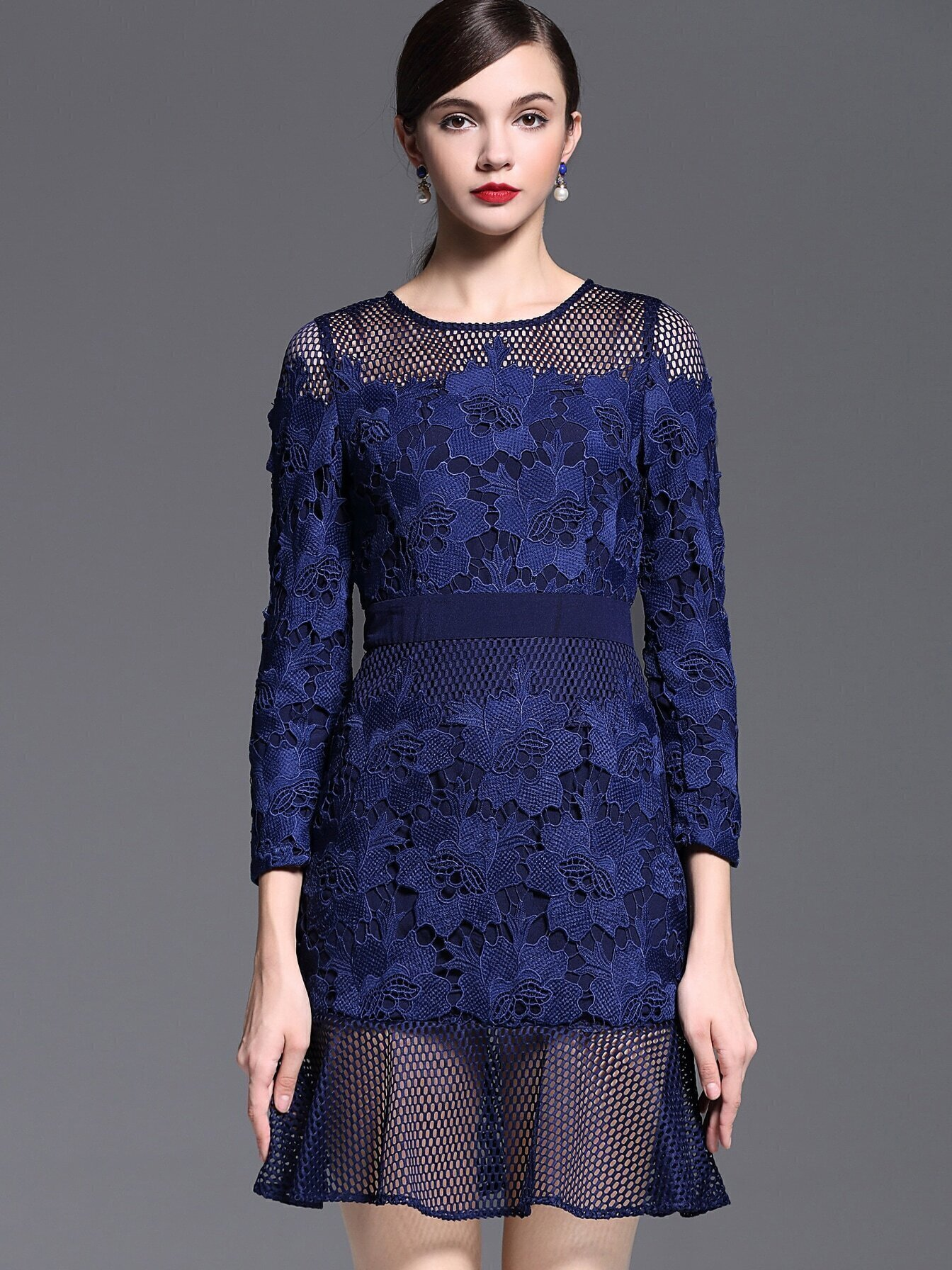 Blue Round Neck Long Sleeve Crochet Dress