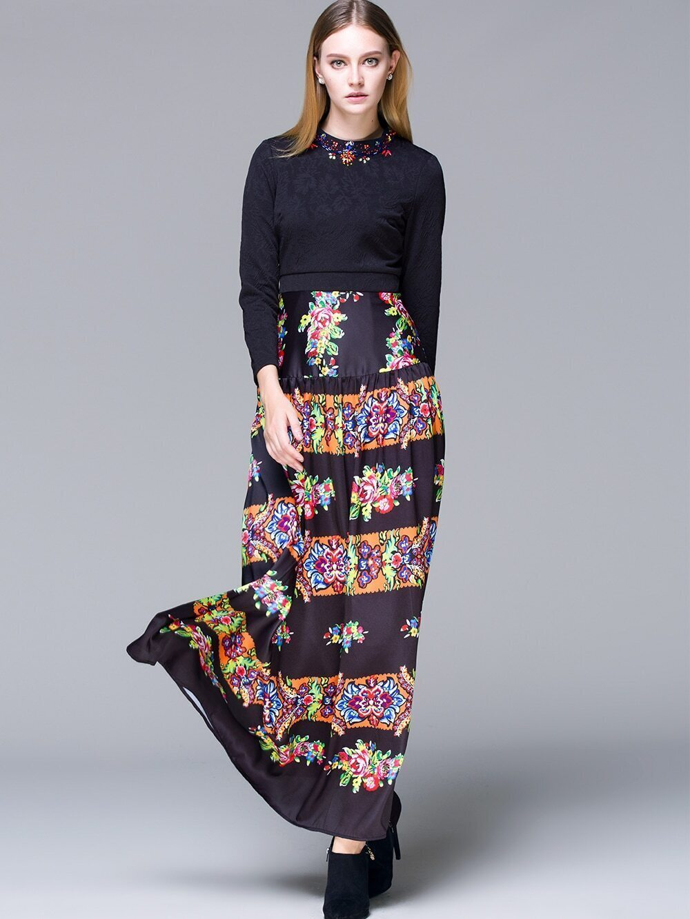 Black Round Neck Long Sleeve Beading Print Dress