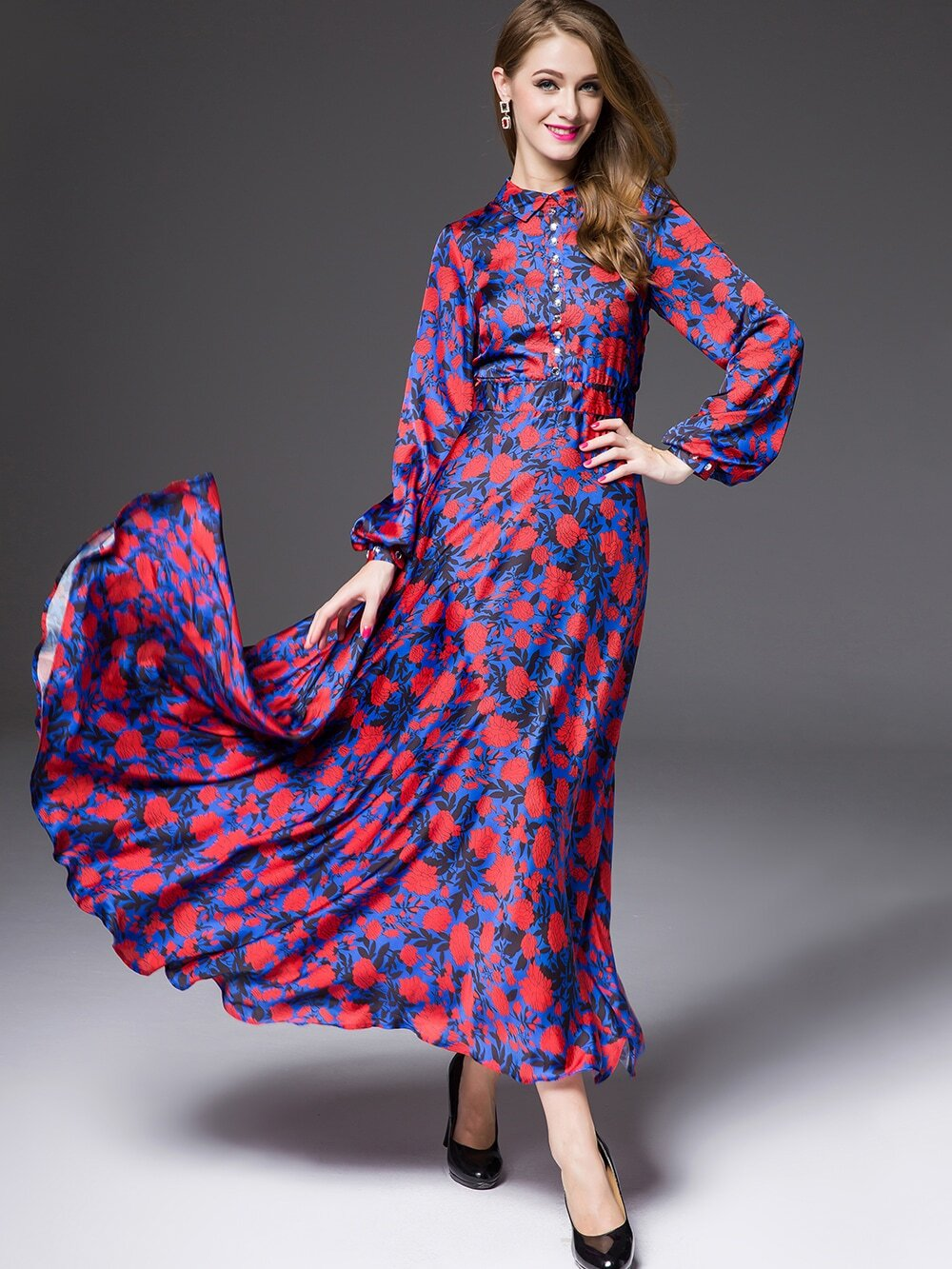 Purple Lapel Long Sleeve Print Dress
