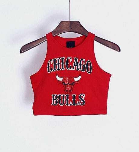 Купить со скидкой Basketball team pattern print crop top
