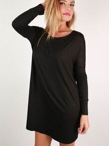 Black Round Neck Casual Dress