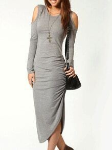 Grey Round Neck Cut Out Asymmetric Dress