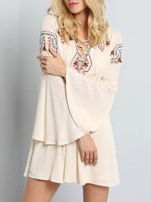 Apricot Long Sleeve Tribal Embroidered Dress