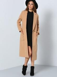 Camel Lapel Pockets Coat