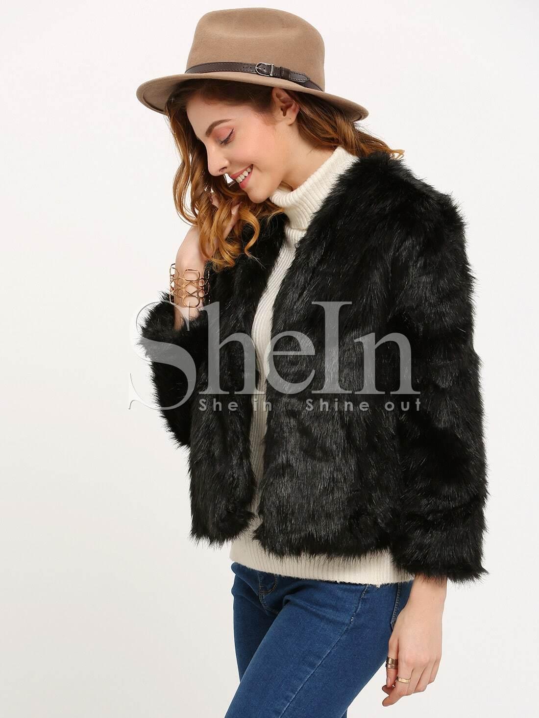 Black long sleeve faux fur coat