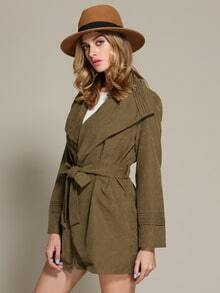 Army Green Long Sleeve Lapel Trench Coat