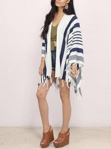Blue White Striped Tassel Knit Cardigan