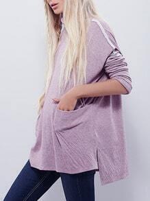 Purple High Neck Pockets T-Shirt