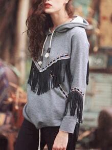 Grey Hooded Tassel Sweatshirt