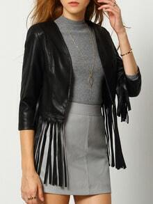 Black Tassel Crop Jacket