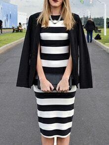 Striped Open Back Slim Dress