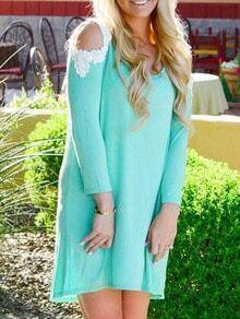 Contrast Lace Open Shoulder Shift Green Dress