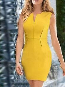 V Neck Sleeveless Pencil Yellow Dress