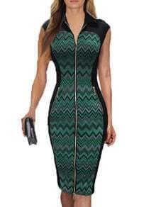 Lapel Zipper Zigzag Slim Dress