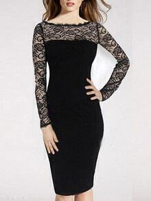 Long Sleeve Lace Insert Pencil Dress