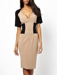 Deep V Neck Color-block Slit Pencil Dress