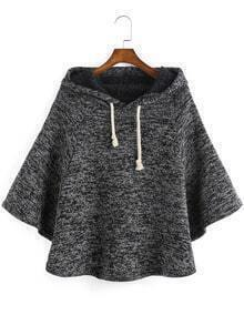 Grey Hooded Batwing Sleeve Loose Cape