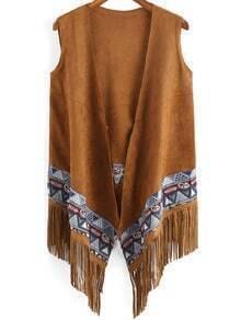 Khaki Sleeveless Tribal Print Tassel Coat
