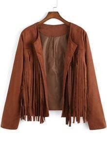 Brown Long Sleeve Tassel Crop Coat