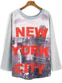 Grey Round Neck Letters City Print Sweatshirt