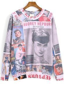 Multicolor Round Neck Beauty Print Sweatshirt