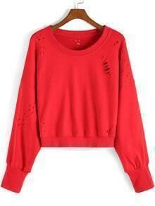 Red Round Neck Ripped Crop Sweatshirt