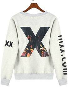 Grey Round Neck Flame Letters Print Sweatshirt