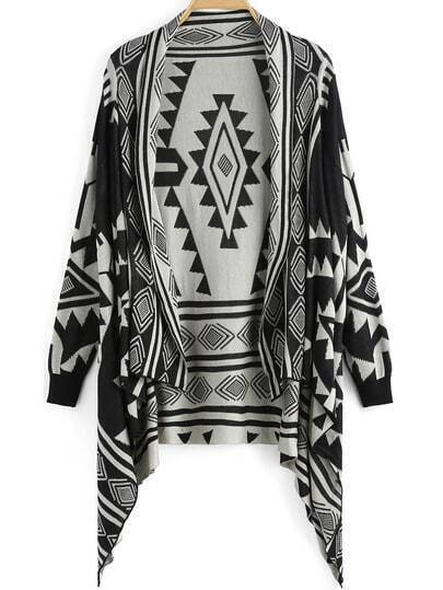 Black White Diamond Print Knit Cardigan