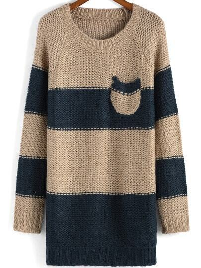 Navy Khaki Round Neck Striped Pocket Sweater