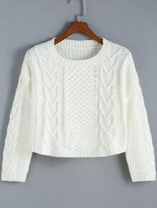 White Round Neck Cable Knit Crop Sweater