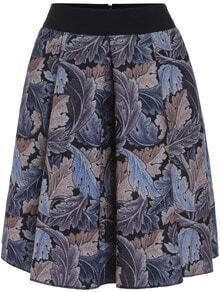 Blue Leaves Print Midi Skirt