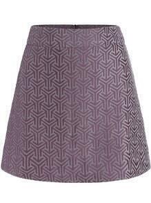 Purple Geometric Pattern Flare Skirt
