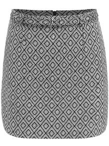 Black White Diamond Patterned Skirt
