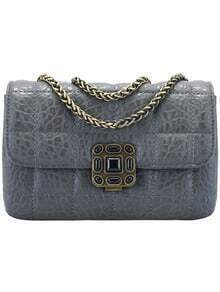 Grey Plaid Pattern Chain PU Shoulder Bag