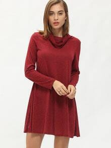 Wine Red Turtleneck Casual Dress