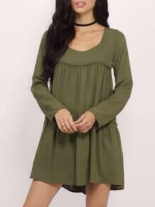 Green Round Neck Casual Dress