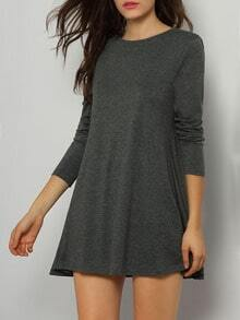 Grey Long Sleeve Babydoll Casual Dress