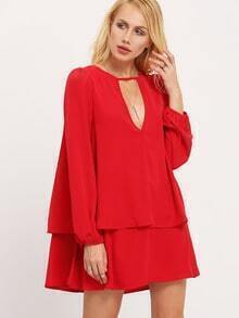 Red Long Sleeve Cut Out Ruffle Dress